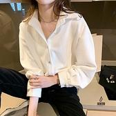 白色襯衫女春秋季磨毛燈芯絨新款港風設計感小眾加厚上衣寬鬆襯衣【愛物及屋】