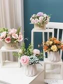 仿真玫瑰繡球花向日葵假花擺件塑料裝飾花小盆栽室內客廳餐桌擺設