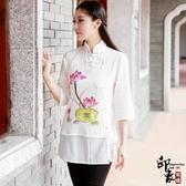 刺繡上衣漢服女民族風中式修身手繪唐立領七分袖棉麻盤扣上衣 週年慶降價