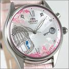 【 萬年鐘錶】ORIENT機械 鳥籠粉色女皮錶 FDM00SL
