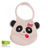 Creative Baby 創寶貝 可收納式攜帶防水無毒矽膠學習圍兜_可愛熊貓