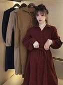 秋冬季2020年新款復古收腰氣質裙子中長款赫本風法式打底洋裝女