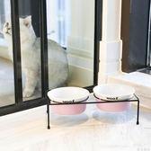 寵物碗寵物雙碗食盆帶架子狗碗狗盆貓碗貓食盆高溫瓷碗寵物用飯碗 綠光森林