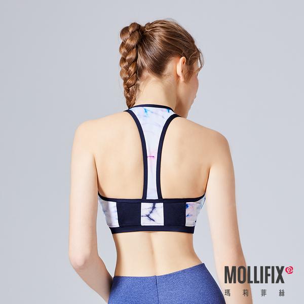 Mollifix 瑪莉菲絲 MoveFree 前扣高防震運動BRA (迷幻藍粉)