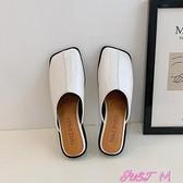 穆勒鞋2021年春季新款包頭小跟奶奶鞋軟皮舒適百搭穆勒鞋懶人方頭半拖鞋 JUST M