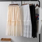 蕾絲裙(長裙)-鏤空純色高腰蓬蓬裙女裙子3色73xg22[時尚巴黎]