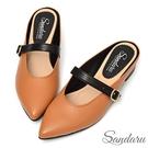 穆勒鞋 法式尖頭皮帶釦粗跟拖鞋-棕