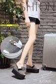 夏季涼拖鞋女外穿坡跟女鞋2018新款韓版鬆糕一字拖12cm超高跟拖鞋   東川崎町