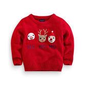 紅色毛衣卡通套頭秋冬新款男女童圣誕裝針織xx11251【Pink中大尺碼】