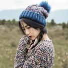 秋冬流行時尚個性加絨毛球毛線帽 時尚百搭...