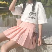 春夏女裝韓版小清新少女綁帶高腰百褶裙學生半身裙百搭短裙A字裙 檸檬衣舍