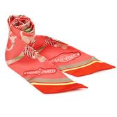 HERMES Cavalcadour Morning圖騰印紋粉橘絲巾/領結(2入組)179120