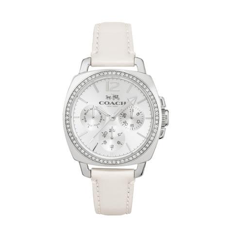 COACH 璀鑽三眼皮帶腕錶/銀面x白/14502123