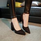 秋季新品正韓尖頭女士性感高跟鞋34-39黑色中跟粗跟百搭單鞋女鞋子
