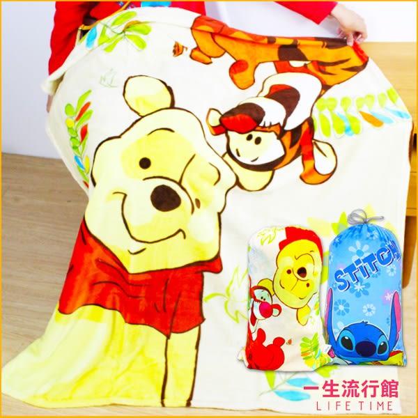 《贈 束口袋》迪士尼 史迪奇 小熊維尼 正版 法蘭絨 保暖 毯子 刷毛毯 被子 聖誕節禮物 MIT B16748