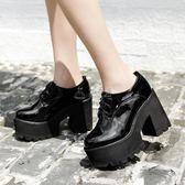 踝靴 秋冬英倫高跟系帶短靴馬丁靴防水臺粗跟厚底短筒女鞋裸靴 338-3 俏女孩