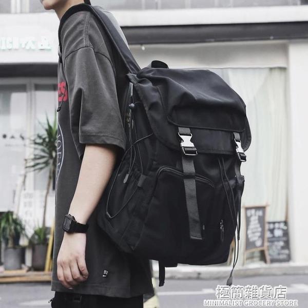 背包男士工裝休閑雙肩包時尚潮流大學生書包大容量旅行旅游電腦包 極簡雜貨