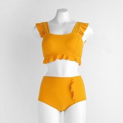 兩件式比基尼-荷葉邊背帶純色高腰女泳衣2色73zt46[時尚巴黎]