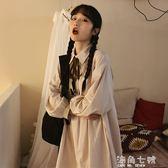 襯衫裙春裝韓版女裝裙子學生寬鬆顯瘦蝴蝶結氣質長袖襯衫連衣裙新款長裙 海角七號