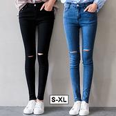 MIUSTAR 韓式切割破壞彈力單寧激瘦煙管褲(共2色,S-XL)【NH1276EW】預購