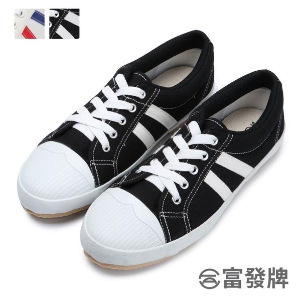 【富發牌】雙線配色韓風休閒鞋-藍紅/黑  1CM09