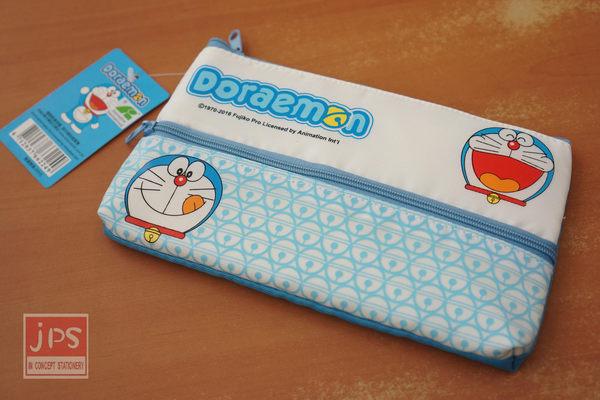 哆啦A夢 雙拉鍊筆袋 (淺藍鈴噹)