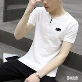 夏季棉麻V領短袖T恤 男士韓版潮流修身打底衫休閒半袖小汗衫衣服 QX11543 『男神港灣』