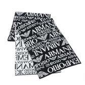 EMPORIO ARMANI雙面黑與白品牌織紋圍巾(黑色/白色)084060