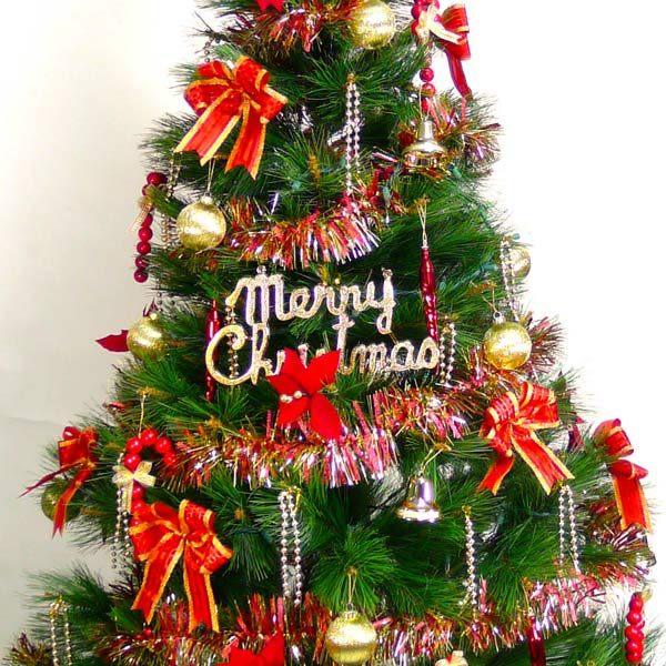 【摩達客】台灣製6呎/6尺(180cm)特級綠松針葉聖誕樹 (+紅金色系配件組)(+100燈鎢絲樹燈清光2串)