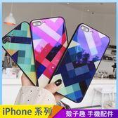 格紋玻璃殼 iPhone iX i7 i8 i6 i6s plus 玻璃背板手機殼 黑邊軟框 保護殼保護套 防摔殼