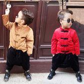 童裝 兒童唐裝漢服冬男童套裝拜年服改良女寶寶周歲禮服中國風古裝棉服 【創時代3c館】