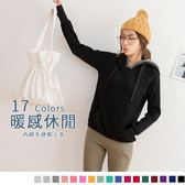 《AB4724》內刷毛配色抽繩連帽羅紋上衣 OrangeBear