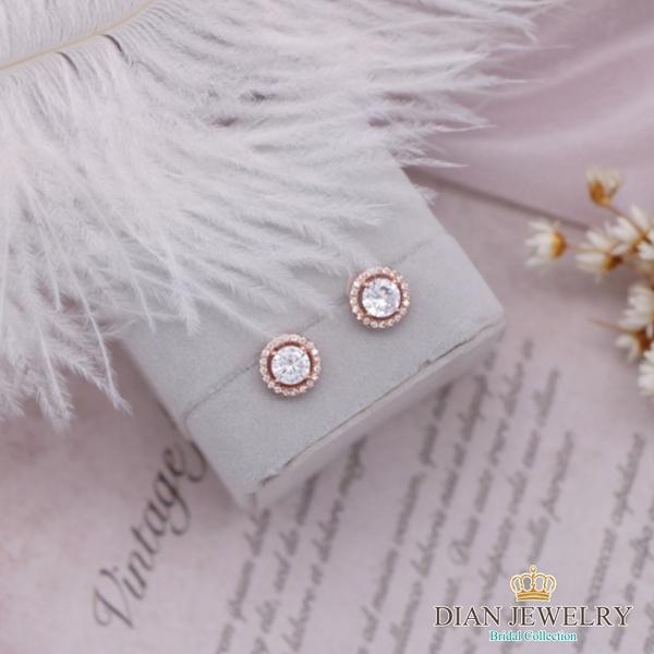 【DIAN 黛恩珠寶】繞圓鑽 CZ鑽造型耳環(CS6456)
