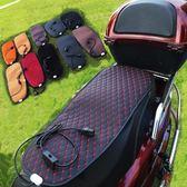 機車電瓶車保暖加熱坐墊皮套電加熱電熱墊電機車防水防曬坐墊三角衣櫃