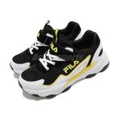 Fila 休閒鞋 J805U 黑 黃 女鞋 大童鞋 復古慢跑鞋 運動鞋 魔鬼氈 【PUMP306】 3J805U109