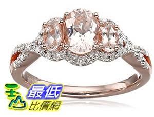 [美國直購] 10k Pink Gold Morganite and Diamond 3-Stone Ring (1/10cttw, I-J Color, I2-I3 Clarity), Size 7 戒指