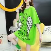 短袖 長版 上衣 韓版卡通t恤女短袖ins潮上衣夏季2020新款網紅寬鬆洋氣體恤