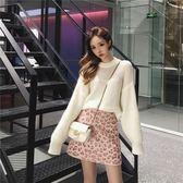 粉色豹紋半身裙女新款秋冬a字高腰毛呢港味chic包臀一步短裙 亞斯藍