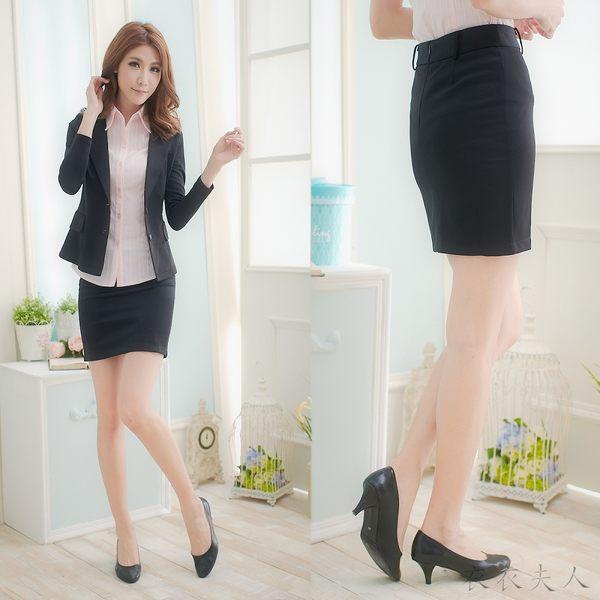 ╭*衣衣夫人OL服飾店*╮【A32258】素面扣環彈性西裝窄裙(黑)XS-XL