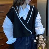 毛衣背心 網紅馬夾秋季2020新款v領短款針織毛衣馬甲坎肩女外穿背心外套潮 VK3309
