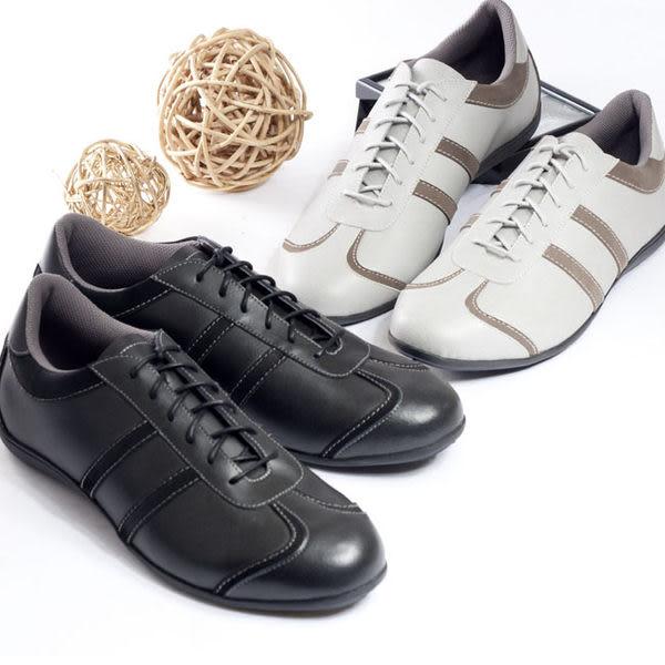 【W&M】撞色舒適皮革TPR高彈性大底 男仕休閒鞋 灰