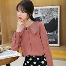 VK精品服飾 韓系時尚娃娃領雪紡襯衫襯衣單品長袖上衣