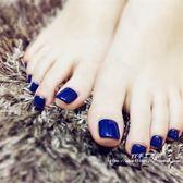 日系高貴寶藍色腳指甲趾甲成品貼片假指甲美甲光療甲手工 至簡元素