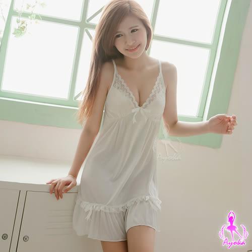 甜美日系白色柔緞睡衣 (OS shop)
