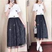折後價不退換套裝裙兩件套XL-5XL顯瘦30340/新款大碼女裝胖mm寬松顯瘦減齡手工訂花兩件套套裝裙