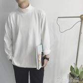 春秋基本款韓國風半高領寬鬆袖純色打底長袖T恤潮男百搭打底衫男 夢想生活家