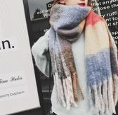 圍巾/披肩 圍巾韓版學生加厚保暖長款仿羊絨雙面拼色圍脖披肩兩用
