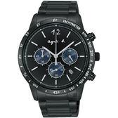 agnes b. 海外限定款三眼計時手錶-43mm VK63-KVC0SD(BU2002X1)