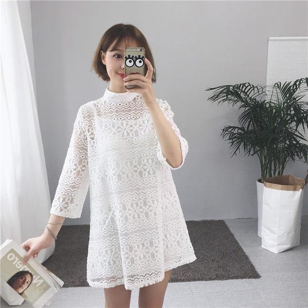 蕾絲短洋裝 兩件組細肩帶背心+高領七分袖鏤空裙 S052