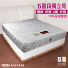 【赫拉名床】五段式護脊獨立筒床墊 (6尺...